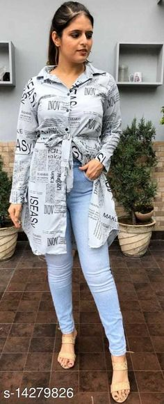 Shirts NEW PAPER PRINT GREY SHIRT VOL.1 Fabric: Crepe Sleeve Length: Long Sleeves Pattern: Printed Multipack: 1 Sizes: S (Bust Size: 36 in, Length Size: 38 in, Waist Size: 32 in, Hip Size: 38 in)  XL (Bust Size: 42 in, Length Size: 38 in, Waist Size: 38 in, Hip Size: 44 in)  L (Bust Size: 40 in, Length Size: 38 in, Waist Size: 36 in, Hip Size: 42 in)  M (Bust Size: 38 in, Length Size: 38 in, Waist Size: 34 in, Hip Size: 40 in)  Country of Origin: India Sizes Available: S, M, L, XL, XXL   Catalog Rating: ★4.1 (500)  Catalog Name: Trendy Retro Women Shirts CatalogID_2831154 C79-SC1022 Code: 773-14279826-039