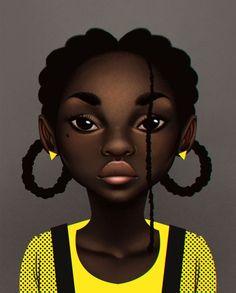 Black Beauty by Fernanda Oliver Black Girl Art, Black Women Art, Black Girls Rock, Black Girl Magic, Art Girl, Natural Hair Art, Pelo Natural, Black Art Pictures, Black Cartoon