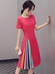Ericdress Color Block Patchwork Short Sleeve Round Neck Casual Dress Casual…