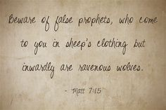 What does the bible say about wolves dressed in sheep's clothing? How can we spot a wolf? Sheep In Wolves Clothing, Education Quotes, Word Of God, Me Quotes, Grace Quotes, Monday Quotes, Bible Verses, Bible Psalms, Scriptures