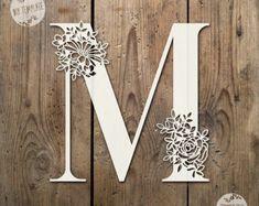 Floral Letter 'M' SVG PDF Design - Papercutting Vinyl Template Commercial Use - Papercut - nursery papercut - new baby papercut