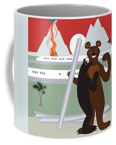 The bear who stole the track Coffee Mug by Lenka Rottova. Mugs For Sale, Cartoon Characters, Coffee Mugs, Jokes, Entertainment, House Design, Bear, Ceramics, Ceramica