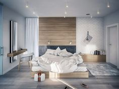 Bedroom. Grey. Wood.