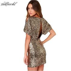 2017 short Sequin Dress Bodycon Mini Sexy Ladies Dress Backless Night Club  Dresses Gold Clothing Women 4650a7d11ff1