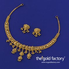 A midi-necklace that showcases katai, ball and wire-work in equal measure and does justice to each by balancing them beautifully to create a design of rare import in an ornament so light in weight. With matched eartops, all in hallmarked gold. Gold Mangalsutra Designs, Gold Earrings Designs, Gold Jewellery Design, Necklace Designs, Bridal Jewellery, Wedding Jewelry, Gold Jewelry Simple, Simple Necklace, Gold Necklace