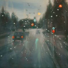 Drops of rain reflect bright lights and punctuate the soft, tonal background of a rainy day. The windshield highlights the contrast of an intimate experience within to the effect of the elements outside. Both painterly and playful while striking a midpoint between pure representation and an emphasis on the picture plane.  8 x 8 x 1 1/2 inches oil on cradled gesso board