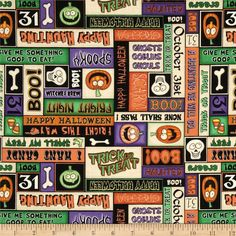 A Haunting We Will Go Halloween Words Multi from @fabricdotcom  Designed by Dan Morris for RJR Fabrics, this cotton print fabric is perfect for quilting, apparel and home decor accents. Colors include purple, lime, black, orange and cream.