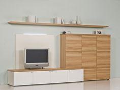 Brinkmann   Luxus Wohnwand   Kernbuche Echtholz Furnier   Weiß Hochglanz