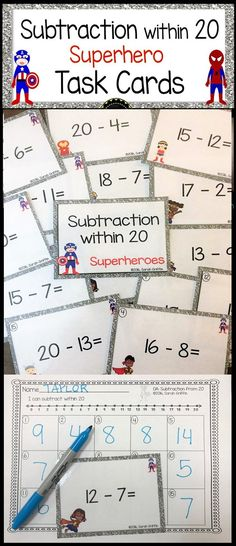 Subtraction from 20 | Math Center | Task Cards | Scoot game | count the room | kindergarten | first grade | second grade | superhero theme