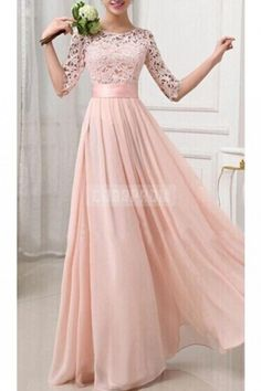 Half Sleeves Jewel Neckline A-line Lace Pink Bridesmaid Dress - Shedressing.com