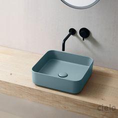 Lavabo rettangolare 60 colorato Brina Shui Comfort - Lavabo colorato da bagno Ceramica Cielo