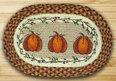 Harvest Pumpkin Oval Braided Jute Placemat