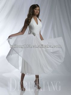 Phenomenal Halter V neckline A line Tea Length Wedding Dress50 s style ivory halter tea length wedding dress  141 32   Vintage  . Tea Length Halter Wedding Dress. Home Design Ideas
