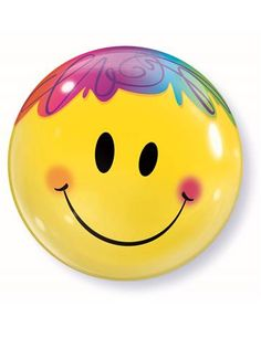 Rainbow Yellow Smiley Face Bubble Balloon Qualatex - deal for boyfriend