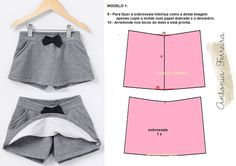 Como Fazer Short, Short Infantil, Tutus For Girls, Short Styles, Women Legs, Baby Sewing, Sewing Hacks, Diy Clothes, Baby Dress