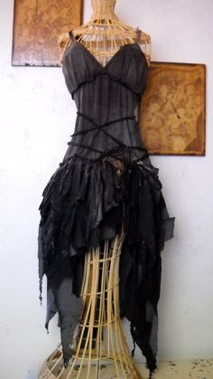 The Witches Dress  -----Tattered hand dyed and bleached ---- Made to Order LIMITED EDITION. $285.00, via Etsy.