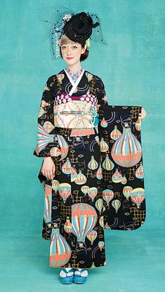 kimono furisode with hot air balloons. sooo around the world in 80 days. <3