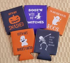 Halloween koozies available at my Etsy store! Halloween Bunco, Fairy Halloween Costumes, Halloween Party Favors, Halloween Drinks, Halloween Quotes, Fall Halloween, Halloween Decorations, Halloween Pumpkins, Halloween Designs