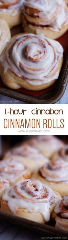 1-Hour Cinnabon Cinnamon Rolls taste JUST LIKE CINNABONS except they come together so fast!! #laurenslatest #cinnamonrolls #cinnabon