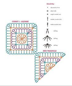 Crochet Blocks, Granny Square Crochet Pattern, Crochet Stitches Patterns, Crochet Diagram, Crochet Chart, Crochet Squares, Crochet Motif, Granny Squares, Afghan Patterns