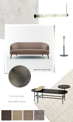 Smooth collection by Designers Guild at Houseology Mood Board Interior, Interior Design Boards, Interior Styling, Interior Design Process, Portfolio Design Layouts, Furniture Board, Furniture Design, Web Design, Layout Design