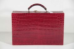 VALEXTRA Italian VINTAGE Burgundy CROCODILE leather JEWELRY CASE Bag PB #Valextra #Handbag