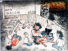 Female students at Nukushina Elementary School. Scene from the window is the burning city of Hiroshima.