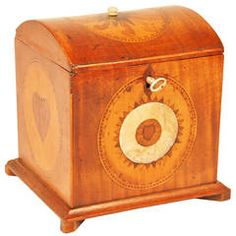 Mixed Woods and Mother-of-Pearl Inlaid Tea Caddy