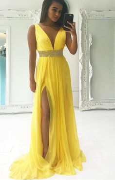 Yellow v neck chiffon prom dress, high slit evening dress sleeveless prom gown a-line evening dress V Neck Evening Dresses Prom Dresses A-Line Evening Dresses Sleeveless Prom Dress Chiffon Evening Dresses Prom Dresses 2019 V Neck Prom Dresses, Beaded Prom Dress, A Line Prom Dresses, Formal Dresses For Women, Sexy Dresses, Dress Prom, Party Dresses, School Dresses, Prom Gowns