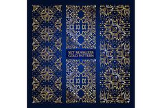 Set of 3 golden lace pattern blue by nastyaaroma on @creativemarket