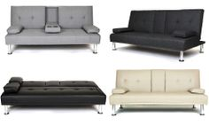 NEW METRO MODERN SOFA BED GREY OR SLATE GREY FABRIC BLACK OR CREAM FAUX LEATHER