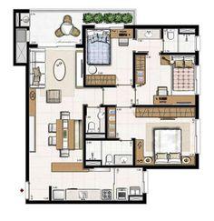 Apartment Floor Plans, House Floor Plans, Sims 4 House Building, Sims House Design, Cute Apartment, Simple House Plans, House Map, Apartment Complexes, Cute House