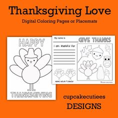 Cupcake Cutiees: Turkey Time- Digital Coloring Pages and Place Mats Thanksgiving Party Store