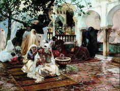 Algérie  -  Peintre American  Frederick Arthur Bridgman(1847-1928), huile sur toile , Titre :  Préparatifs pour  mariage, Alger