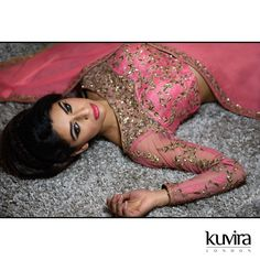 KL-ADW03 - Sari with high neck blouse with sheer upper and sleeves. Customisation options available with a made to measure service! Email info@kuviralondon.com for further information.