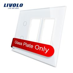 13.07$  Buy here - http://aliwm2.shopchina.info/go.php?t=32753096996 - Free Shipping, Livolo White  Pearl Crystal Glass,  US standard, 2Gang &2 Frame Glass Panel, VL-C5-C2/SR/SR-11 13.07$ #buyininternet