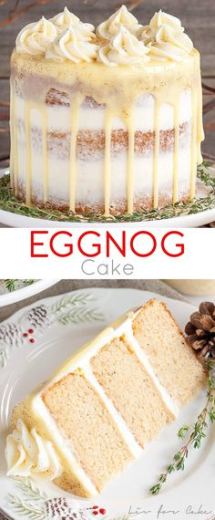 This rum spiked Eggnog Cake with cream cheese frosting and white chocolate ganac., Desserts, This rum spiked Eggnog Cake with cream cheese frosting and white chocolate ganache is just the thing to warm you up this Holiday season! Holiday Baking, Christmas Baking, Christmas Treats, Christmas Popcorn, Christmas Cookies, Christmas Stuff, Holiday Desserts Christmas Cake, Christmas Eve, Christmas Foods