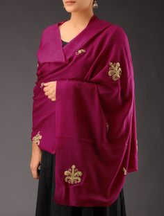 Buy Fuschia Golden Zari Booti & Sequin Cashmere Wool Shawl Accessories Shawls Classic Emblaze Colorful Embellished in Online at Jaypore.com or visit www.richadesigns.in
