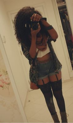 Investing in a garter belt, so I can have cute grunge outfits like this.