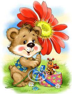 gifs ours pandas koalas - Page 16 Bear Images, Teddy Bear Pictures, Bear Cartoon, Cute Cartoon, Painting For Kids, Art For Kids, Gif Bonito, Bear Gif, Bear Illustration