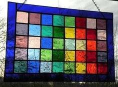 Rainbow Stained glass window panel rectangular multi-colored spectrum