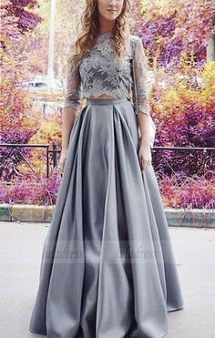 long prom dresses,two piece prom dresses,lace prom dresses,prom dresses for teens,cheap prom dresses Grey Prom Dress, Prom Dresses Two Piece, Half Sleeve Dresses, Prom Dresses 2017, Prom Dresses With Sleeves, A Line Prom Dresses, Lace Evening Dresses, Cheap Prom Dresses, Lace Dress