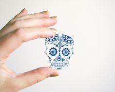 Dia de los Muertos brooch Calavera blue skull shrinking plastic jewelry handmade accessories gift for him or her halloween. €5.95, via Etsy.