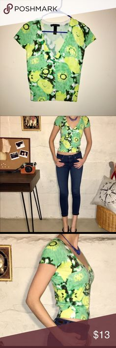 Floral embellished green button down Chest: 30.                                                                                 Waist: 28.                                                                                  Length: 20 INC International Concepts Tops Button Down Shirts