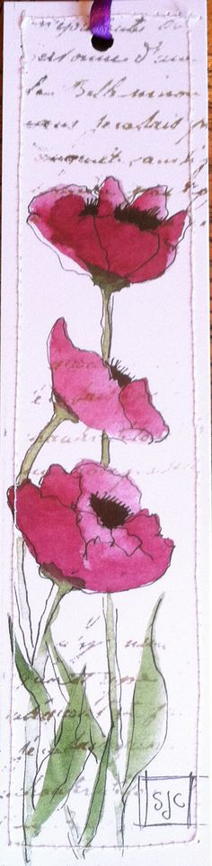 Watercolor Bookmark Purple Poppies Special by Wildflowerhouse
