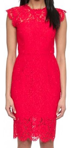 Lace red fitted dress
