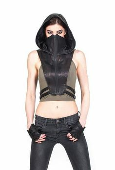 Jungle Tribe / black leather wasteland gear / post apocalyptic women's fashion / urban wasteland / dystopia / MAD MAX