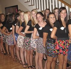 love this day 2 idea!  Matching black tops paired with different floral skirts.