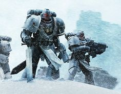 Warhammer 40K, Black Templar Space Marines securing a drop zone