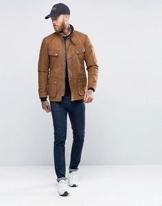Image 4 of Barbour Duke Waxed Jacket In Tan